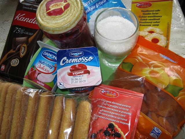 Tort mini (4-6 portii) cu fructe, piscoturi si iaurt (2/6)
